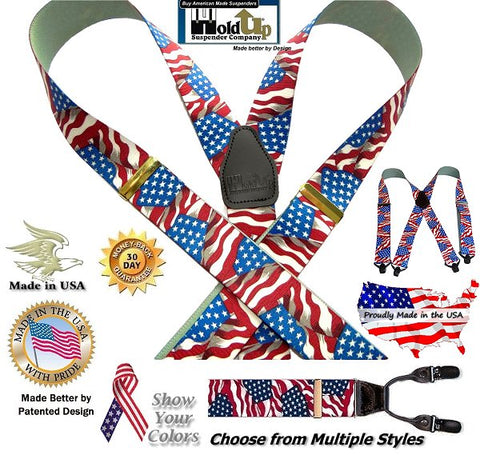 Holdup USA made American Flag pattern clip-on suspenders in various sizes and styles