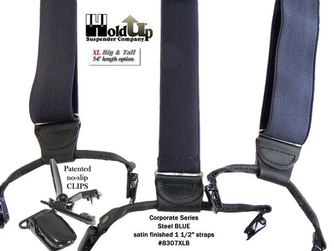 Steel Blue Double-Upm style XL Holdup suspenders for the big and tall man needing a dressy blue suspender