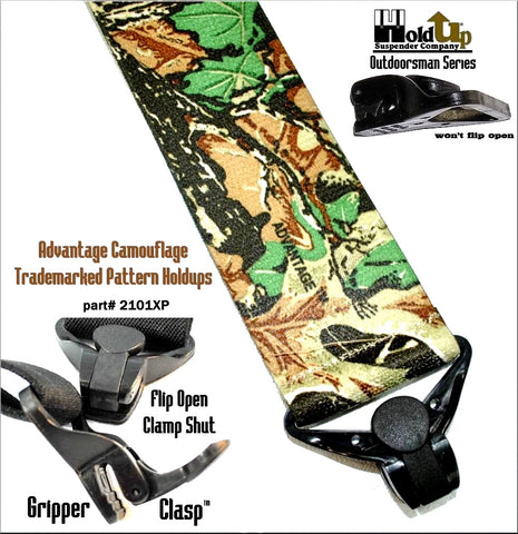Camouflage Advantage pattern hunting suspdners with patented jumbo Gripper Clasps that holdup to rugged outdoor activities