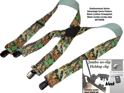 Advantage Camouflage pattern hunting X-back suspenders with patented black no-slip clips