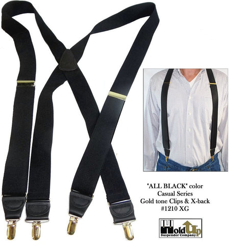 All Black X-back Casual Series Holdup suspenders