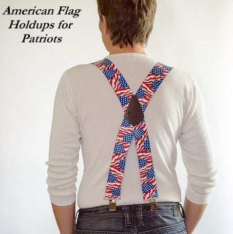 USA flag pattern wide work Holdup suspenders with silver jumbo No-slip clips