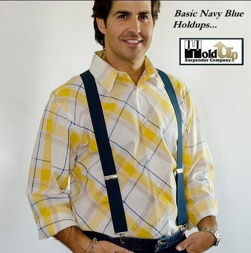Classic navy blue Holdup suspenders in X-back with silver patented no-slip clips sold in our Amazon Web shop