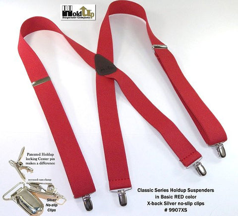 "Hold-Ups RED 1 1/2"" Wide Classic X-back Suspenders made in the USA"