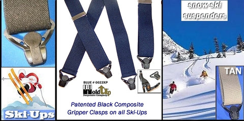 Holdup Brand snow sports skiing suspenders with patented Gripper clasps