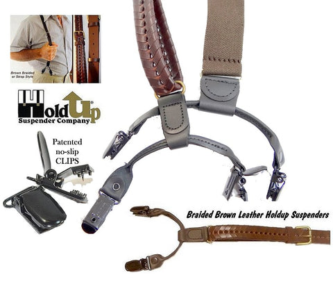 Holdup top grade leather suspenders in a brown braided Double-Up style with dual patented no-slip clips