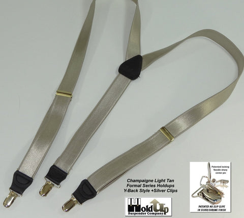 Light Champaigne Tan satin finished narrow Formal Series Holdup suspenders in Y-back style and silver/chrome no-slip clips