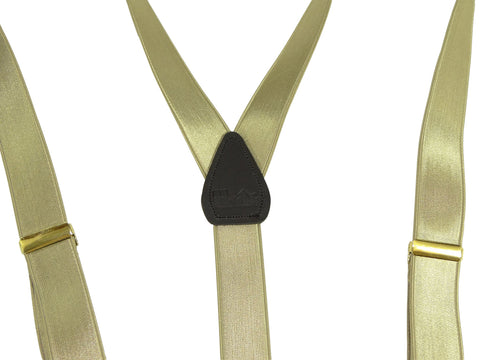 Y-back champagne golden tan Holdup dual clip Double-Up suspenders with black no-slip patented clips