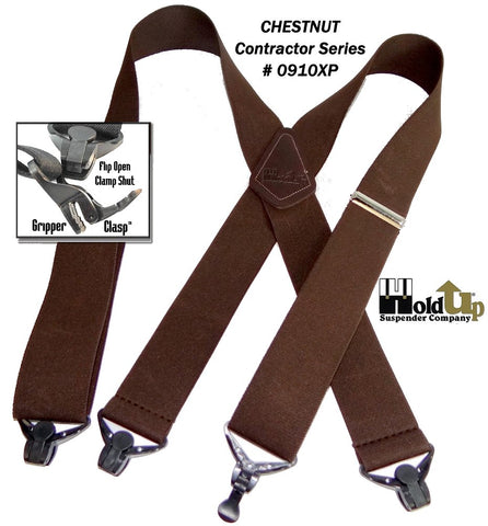 "Dark Chestnut Brown 2"" wide Holdup work suspenders with patented jumbo Gripper Clasps"