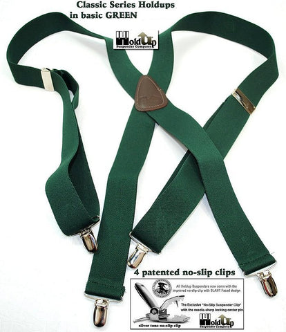Dark Green Classic X-nack slip on suspenders are made in the USA and have patented no-slip clips