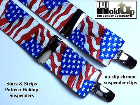 USA Flag pattern men's x-back suspenders from Holdup Suspender Company
