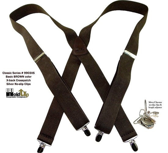 Classic X-back dark brown Holdup suspenders with silver patented no-slip clips