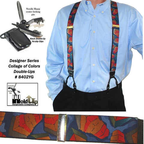 Dual Clip Designer Series Holdup suspenders in the Collage of Colors pattern with black no-slip clips