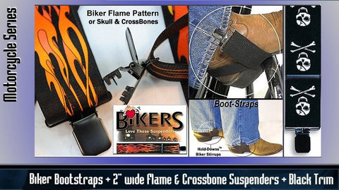 Holdup Biker suspnders in flame and Skull crossbones patterns and Boot straps using jumbo no-slip clips