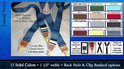 Casual Series single clip Holdup suspenders in 14 colors with X or Y-back and clip finish options