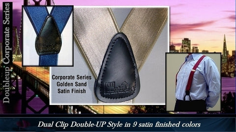 Corporate Series dressy satin finished Holdup single clip suspenders for men