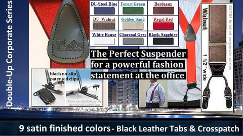 "Holdup Suspender Company Corporate Series men's satin finished suspenders in 1 1/2"" width and dual clip Double-Up trademarked styling"