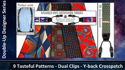 Holdup dual clip dressy designer pattern suspenders look and wear like botton-on men's suspenders