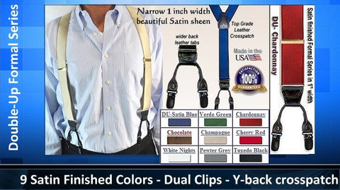 Fancy Satin finished Formal Series Holdup suspenders in a narrow width and dual clip Double-Up style
