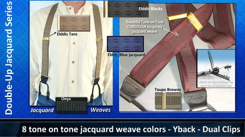 Jacquard weave Series Dual Clip Double-Up style Holdup suspenders in 9 tone on tone colors