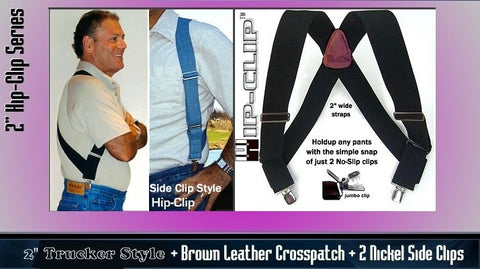 Hip-Clip Holdup suspenders in 2 widths and 5 colors attach at the side of your pants