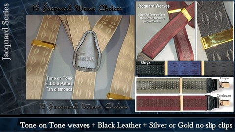 Jacquard weave tone on contrasting color tones make for a stunning look in fashionable office suspenders