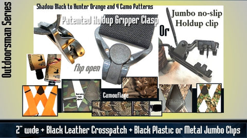 Holdup Brand USA made wide Outdoorsmen Series Hunting and work suspenders with patented no-slip clips and gripper clasps