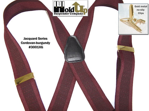 Cordovan and Burgundy Jacquard weave X-back Holdup Suspenders with gold tone patented no-slip clips