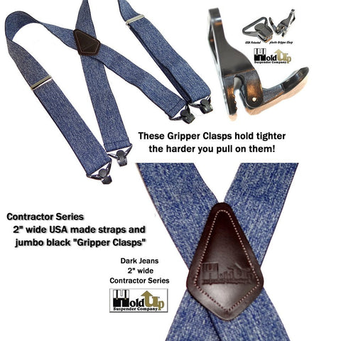 Dark Blue jeans colored denim type fabric work suspenders with jumbo Gripper Clasps