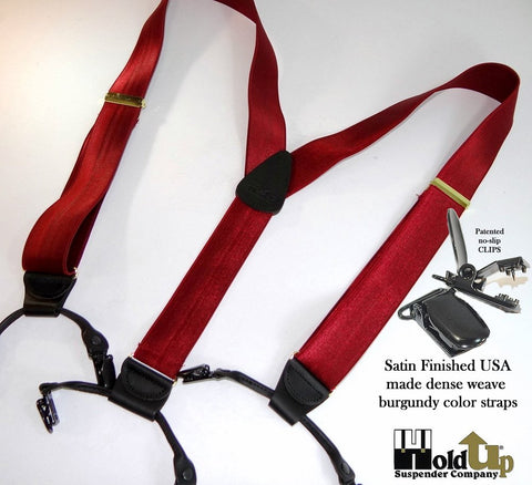 Bordeauz burgundy Double-Up style Holdup suspenders with black leather trim and no-slip clips