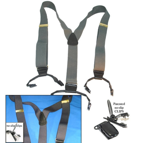 Dark Slate Grey Dual Clip Holdup Suspenders with black patented no slip clips