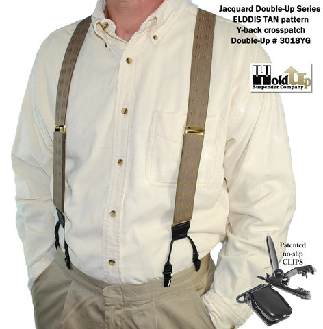 Holdup Jacquard Series dual clip Double-Up suspenders in the tan in beige pyramid diamond pattern color
