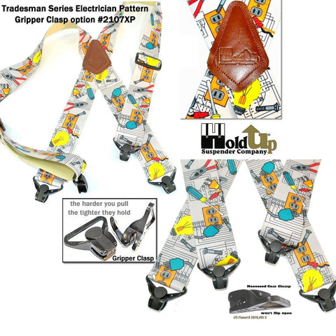Tradesman Electrician Pattern work suspenders with the patented Composite Plastic Jumbo Gripper Clasp and plastic length adjusters on sale here at the Holdup Amazon web shop with a free freight offer