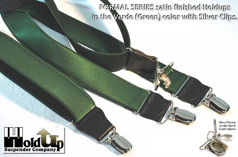 Formal Series X-back verde dark green narrow clip-on suspenders