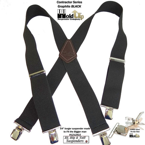 XL big and tall Holdup Black 2 inch wide work suspenders with patented jumbo no-slip clips