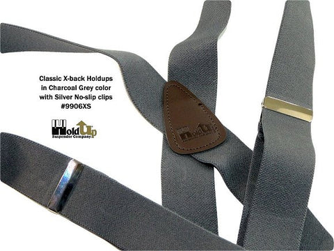 Classic X-back dark grey Holdup suspenders with C-back brown leather crosspatch