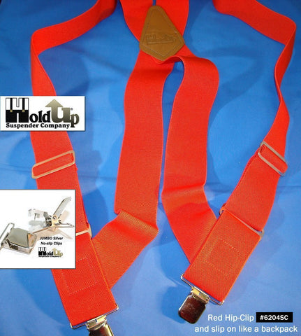 Red Jumbo Hip-Clip series Holdup suspenders that attack at side of your pants with just 2 jumbo patentd no-slip clips
