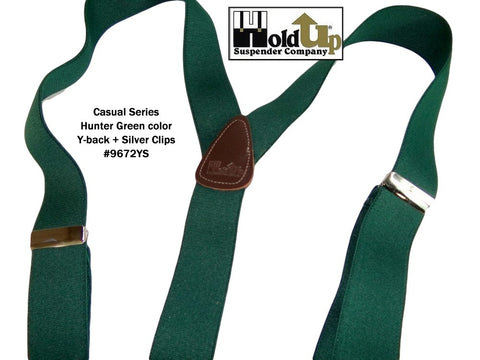 Dark Hunter GREEN Holdup casual series suspenders in Y-back style with Silver tone patented no-slip clips
