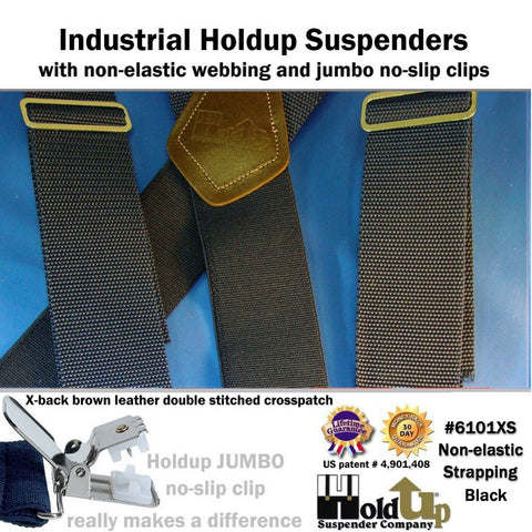 Heavy duty black Holdup Industrial Series work suspenders with non-elastic black front straps