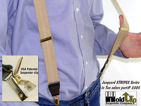 Patented no-slip® HoldUp® suspender clips in gold color on these tan-on-tan striped HoldUp suspenders