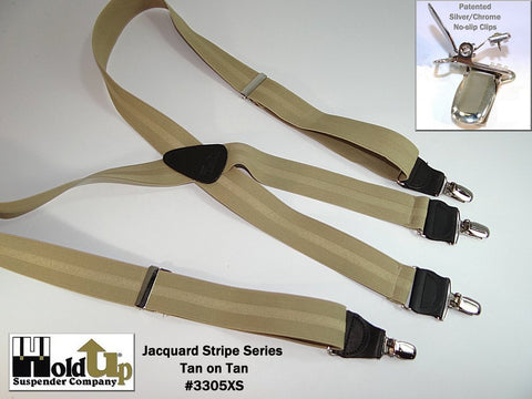 "1 1/2"" wide tone-on-tone Jacquard Striped Series suspenders in a tan on light beige tasteful stripe pattern."
