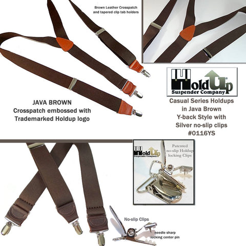 Hold-Up's Casual Series in a dark JAVA Brown solid color men's suspender featuring our patented No-slip clip with nickel metal finish and nickel metal length adjuster
