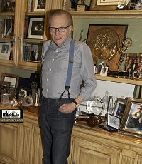 Larry King wearing the Holdup Brand Blue Denim Double-Up style men's clip-on suspenders