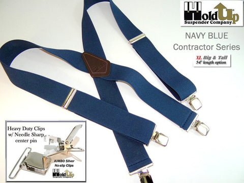 Dark Navy Blue XL work suspenders for the Big and tall man are made in the USA by Holdup Suspender Company
