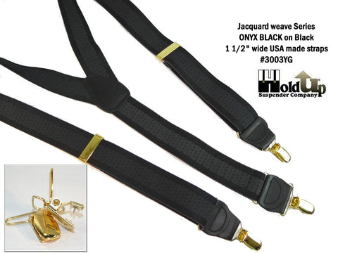 Jacquard Seriese Holdup suspenders in Onyx black stripe pattern with Gold tone no-slip clips