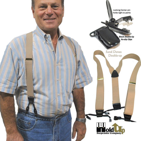 Light Tan dual clip Double-Up style Holdup suspenders with black leather crosspatch embossed with Holdup logo