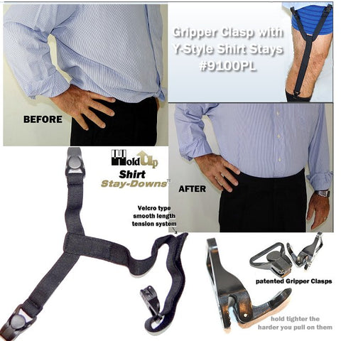 Patented Shirt Stays-Down are shirt tail suspenders that hold any shirt firmly in place without billowing at the waistline