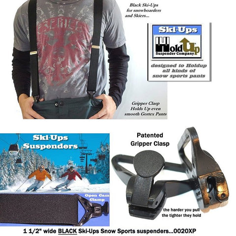All black Ski-Up snow ski and outdoors sports clip-on Holdup suspenders with Patented Gripper clasps