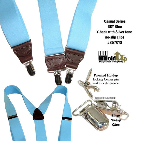 Light Sky Blue clip-on Y-back suspenders made in the USA have patented silver chrome tone no-slip metal clips for wearing with casual pants and jeans