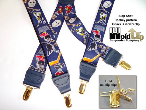 Hold-Ups Slap Shot Hockey Pattern X-back Suspenders with patented Gold no-slip Clips